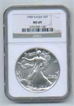 1989 American Silver Eagle NGC MS69