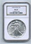 1990 American Silver Eagle NGC MS69