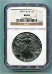 2000 American Silver Eagle NGC MS69