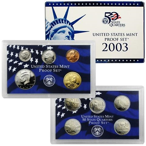 2003 S Proof Set Original Box /& COA 10 Coins CN-Clad US Mint