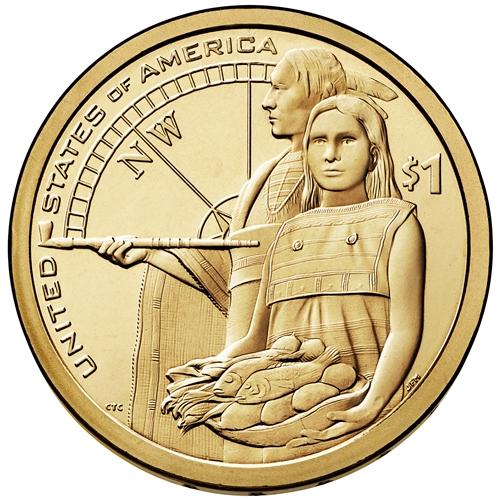 2014 D Native American Sacagawea Compas Golden Dollar Coin Rolls uncirculate