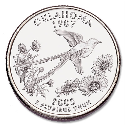 2008 D MINT Oklahoma State Quarter Uncirculated OK Shipping Discount!