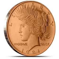 Peace Silver Dollar 1 oz Copper Rounds