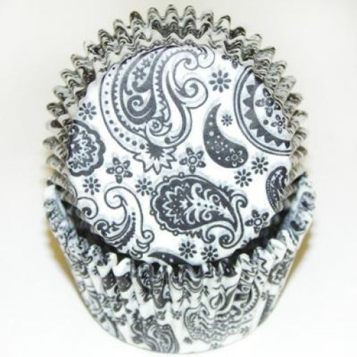 Black White Paisley Standard Cupcake Liners Baking Cup