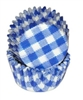 Blue Gingham Mini Cupcake Liners Baking Cups