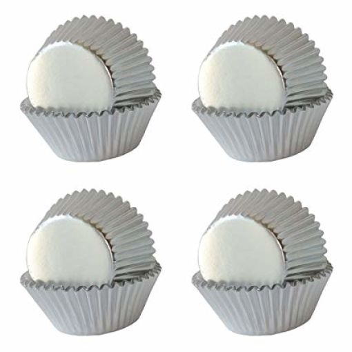 Silver Metallic Mini Cupcake Liners Baking Cups
