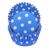 Blue White Polka Dots Mini Cupcake Liners Baking Cups