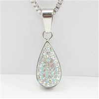 Sky Blue Teardrop Cremation Pendant (Chain Sold Separately)