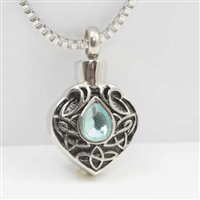 Cremation Pendant With Blue Teardrop (Chain Sold Separately)