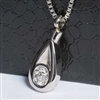 Extra Large Teardrop With CZ Cremation Pendant (Chain Sold Separately)