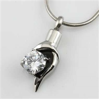 Teardrop With CZ Cremation Pendant (Chain Sold Separately)