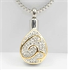 Gold And Silver Teardrop Cremation Pendant (Chain Sold Separately)