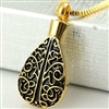 Large Gold Teardrop With Floral Tree Design Cremation Pendant (Chain Sold Separately)