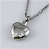 White Footprints On Silver Heart Cremation Jewelry Pendant (Chain Sold Separately)