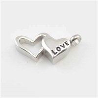 """Love"" On Open And Closed Heart Cremation Pendant (Chain Sold Separately)"