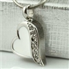 Seven Stones On White Heart Cremation Pendant (Chain Sold Separately)