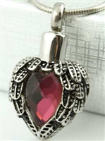 Angel Wings Wrapped Around Wine Colored Stone Cremation Pendant (Chain Sold Separately)