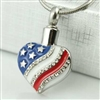 American Flag Heart Cremation Jewelry Pendant (Chain Sold Separately)