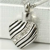Striped Heart Cremation Pendant (Chain Sold Separately)
