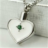 Green Stone On White Heart Cremation Pendant (Chain Sold Separately)