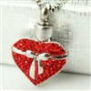 Ribbon Around Sparkling Red Heart Cremation Pendant (Chain Sold Separately)