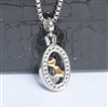 Oval Around Twin Hearts Cremation Pendant (Chain Sold Separately)