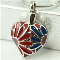 Blue and Red Floral Heart Cremation Pendant (Chain Sold Separately)