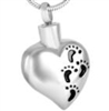 Heart With Black Footprints Cremation Pendant (Chain Sold Separately)
