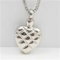 Quilted Heart Cremation Pendant (Chain Sold Separately)