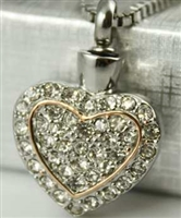 Sparkling Heart Inside Heart Cremation Jewelry Pendant (Chain Sold Separately)