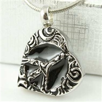Peace Sign On Heart Cremation Pendant (Chain Sold Separately)