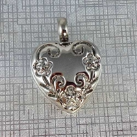 Flowers Carved Into Heart Cremation Pendant (Chain Sold Separately)
