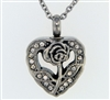 Rose On Open Heart Cremation Pendant (Chain Sold Separately)
