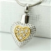 Small Gold And Silver Heart Cremation Pendant (Chain Sold Separately)