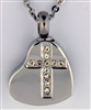 Rhinestone Cross On Heart Cremation Pendant (Chain Sold Separately)