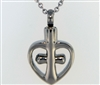 Open Heart Around Cross Cremation Pendant (Chain Sold Separately)