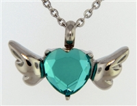 Blue Heart With Wings Cremation Pendant (Chain Sold Separately)
