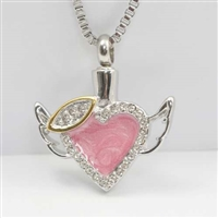 Pink Heart with Halo and Wings Cremation Jewelry Pendant (Chain Sold Separately)