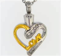 """Love"" On Gold and Silver Heart Cremation Pendant (Chain Sold Separately)"