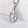 Three CZ Dripping Hearts Cremation Pendant (Chain Sold Separately)