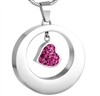 Ring Around Pink Heart Cremation Pendant (Chain Sold Separately)