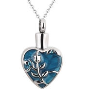 Flower On Blue Heart Cremation Pendant (Chain Sold Separately)