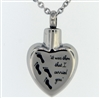 Footprints In The Sand Heart Cremation Jewelry Pendant (Chain Sold Separately)