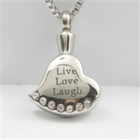 """Live Love Laugh"" Heart Cremation Pendant (Chain Sold Separately)"