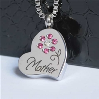 Mother With Pink Flower Cremation Pendant (Chain Sold Separately)