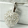 Sparkling White and Silver Heart Cremation Pendant (Chain Sold Separately)
