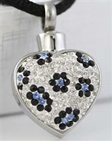 Sparkling White Heart With Blue Flowers Cremation Pendant (Chain Sold Separately)