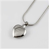 Simple Stainless Steel Heart Cremation Pendant (Chain Sold Separately)