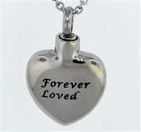 "Simple ""Forever Loved"" Heart Cremation Pendant (Chain Sold Separately)"