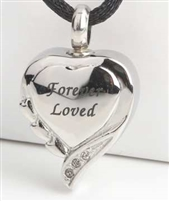 "Fancy ""Forever Loved"" Heart Cremation Pendant (Chain Sold Separately)"